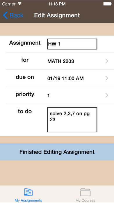 myAssignments iPhone Screenshot 5