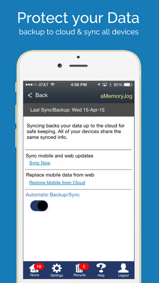 aMemoryJog PRO Secure Password Manager Vault & Digital Passcodes Safe Screenshots