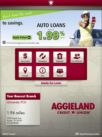Aggieland Credit Union for iPad