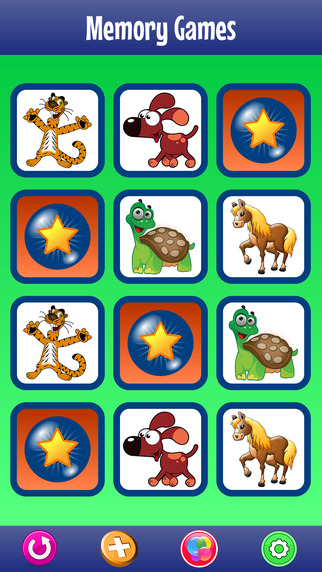 Memory Game with Animals Dinosaurs and Dogs for Kids and Toddlers Matching Pairs