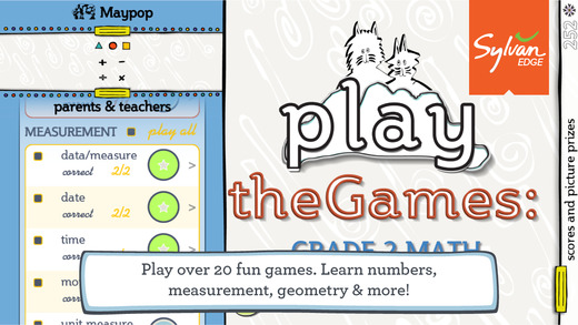 TheGames: 2nd Grade Multiplication Fractions Time and More - A Sylvan Edge App