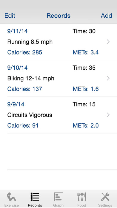 Exercise Calculator iPhone Screenshot 2