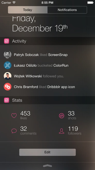 Dribbblr - Dribbble widget