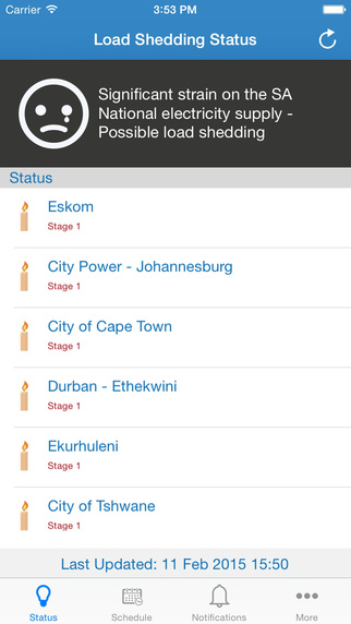 Loadshedding - Notification and schedule for Johannesburg Cape Town and Durban area