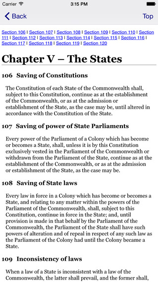 Constitution iPhone Screenshot 3