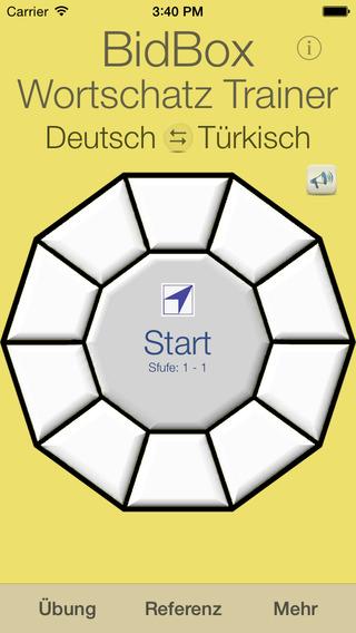Vocabulary Trainer: German - Turkish iPhone Screenshot 1