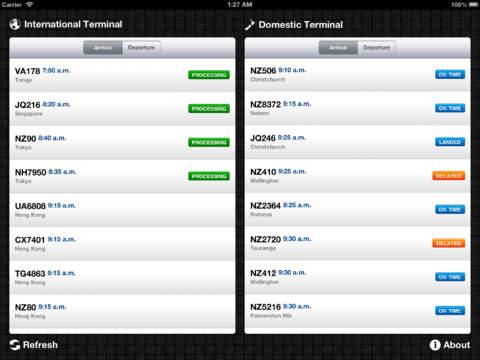 Auckland Airport Flight Information iPad Screenshot 1