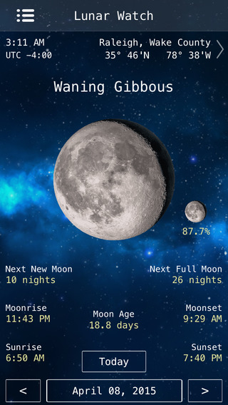Lunar Watch moon phase calendar