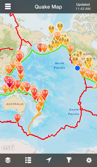 QuakeFeed Earthquake Map Alerts and News - World Earthquakes Displayed on Esri Maps