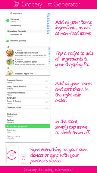 Grocery List Generator - Create shopping lists and store all your recipes. Screenshots