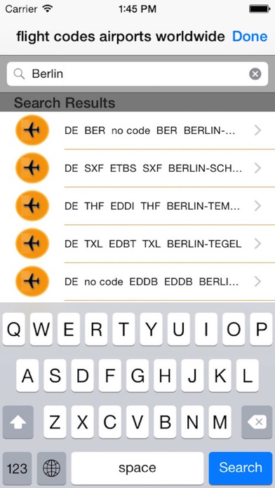 flight codes iPhone Screenshot 2