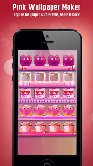 Pink Wallpaper Maker for your Home Screen - Make custom Backgrounds with colorful Frame Shelf Docks