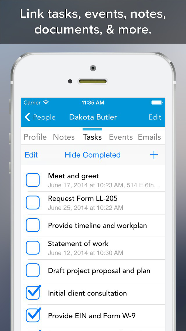 customer relationship management app iphone