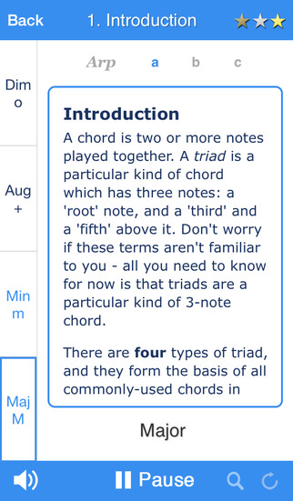 Chordelia Triad Tutor - learn to hear Major Minor Augmented and Diminished chords - for the beginner