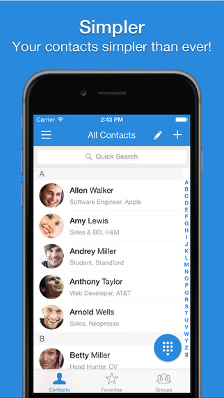 Simpler Contacts - Smart address book manager for iCloud Gmail Yahoo Outlook Contacts