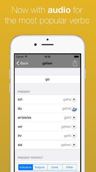 German Verb Conjugator (now with audio for top 50 verbs) Screenshots