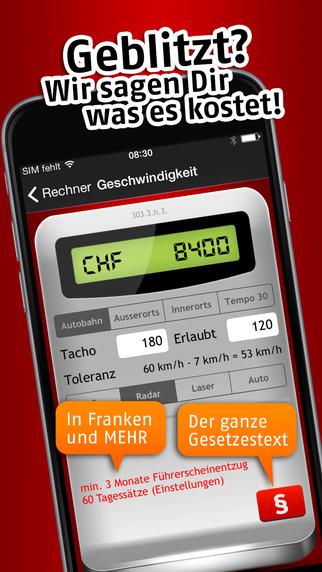 Bussenrechner Schweiz iPhone Screenshot 1