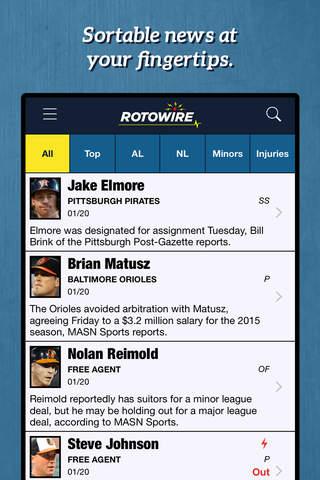 RotoWire Fantasy Baseball Assistant 2015 screenshot 1