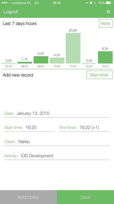 Urenregistratie iPhone Screenshot 2