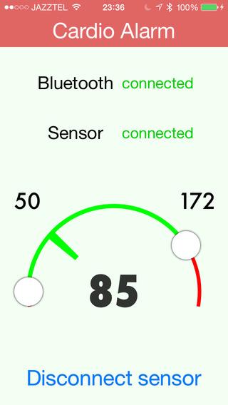 Cardio Alarm: background voice alarm for bluetooth sensors
