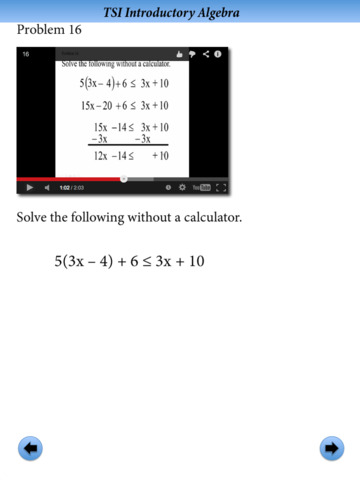TSI Introductory Algebra