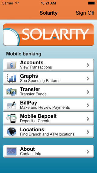 Solarity Credit Union's Mobile Banking