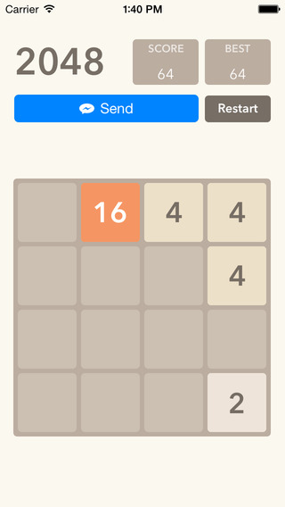 Share 2048 Game Capture with your friends in Messenger