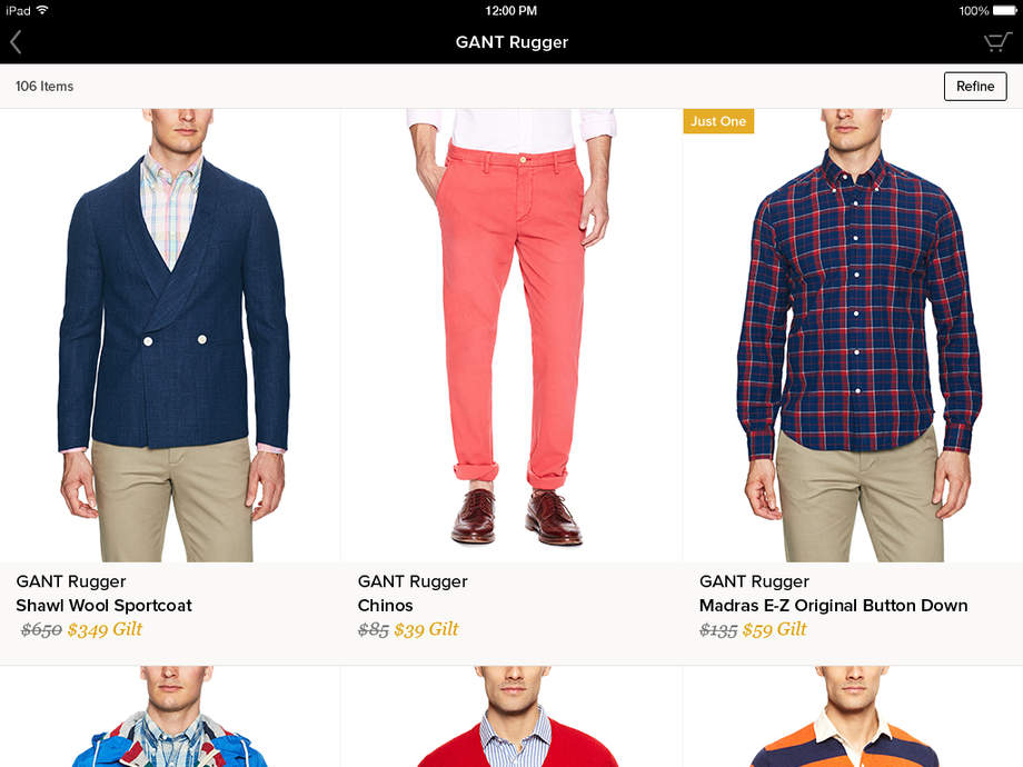 Gilt for iPad - Shop Designer Sales - iPhone Mobile Analytics and App Store Data