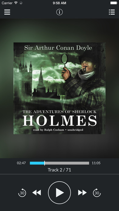 Adventures of Sherlock Holmes (by Arthur Conan Doyle) (AUDIOBOOK) : Blackstone Audio Apps : Folium Edition iPhone Screenshot 1
