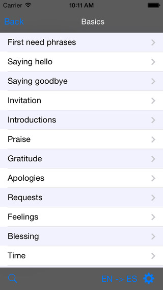 Spanish-Chinese Cantonese Traditional Talking Travel Phrasebook iPhone Screenshot 2