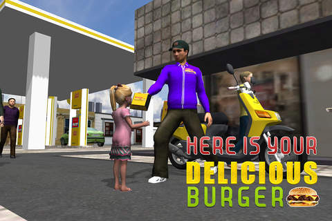 3D Ultimate Burger Boy Simulator – Motor bike ride & simulation game screenshot 2