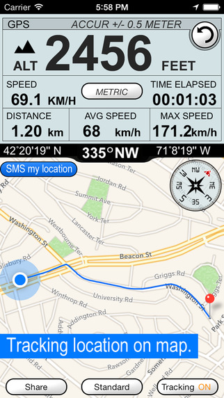 Altimeter GPS Hike Tracker Screenshots