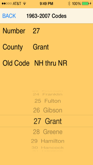 Indiana License Plate County Codes iPhone Screenshot 4