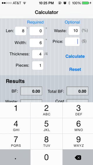 Board Feet Easy Calculator iPhone Screenshot 4