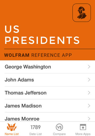 Wolfram US Presidents Reference App screenshot 1
