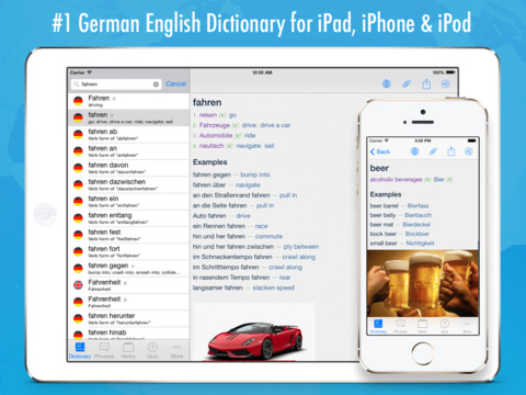 German English Dictionary + iPad Screenshot 1