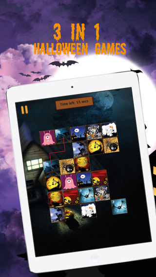 Halloween Tiles: Match two Connect and Tile Breaker games with Halloween theme
