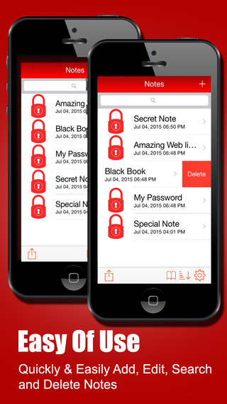 Secure Notes for iPhone, iPad, iPod & Watch Screenshots