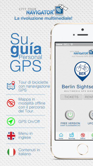 Berlino guida giro della città in bicicletta: Tour GPS Multimeda guidata video audioguida senza inte
