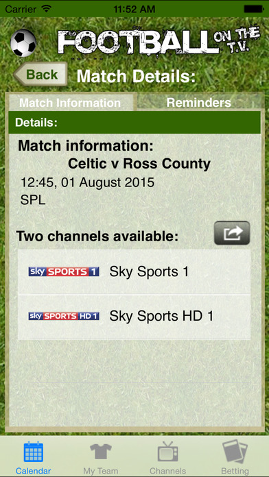 Football on the TV iPhone Screenshot 1