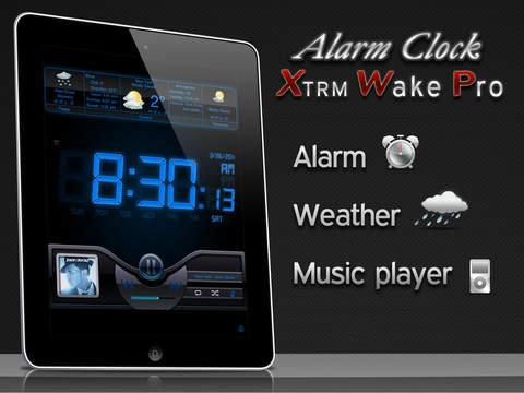 Alarm Clock Xtrm Wake & Rise Pro HD Free - Weather + Music Player screenshot