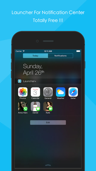 Launcher + : Shortcuts with Notification Center Widget for App Contacts and Website