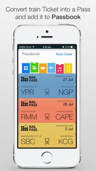 Rail Pass™ - IRCTC PNR status enquiry. Add Indian Railway train ticket to Passbook using RailPass.