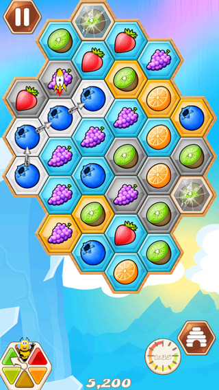 Bechained Fruit Party - Link the Fruits Pop Jewel or Candy and let fall down the little bee mania