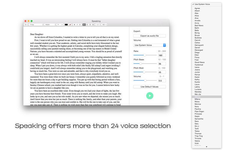 Speaking - 语音文本朗读[OS X]丨反斗限免