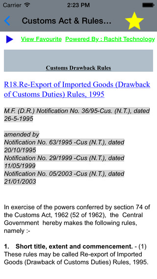 Customs Act Rules - 1962