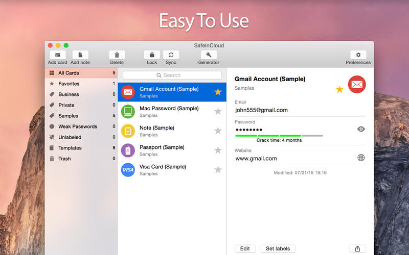 SafeInCloud Password Manager Screenshot - 2