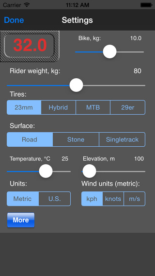 Bike Calculator iPhone Screenshot 2