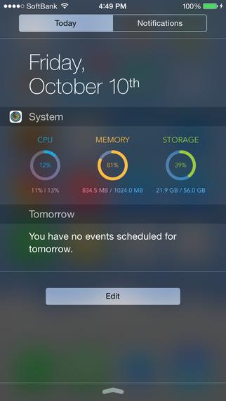 System Monitor Widget - CPU Memory Storage Monitor