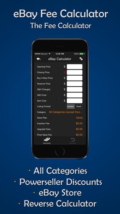 eBay, eBid, Amazon, Half.com & PayPal Auction Calculator iPhone Screenshot 2